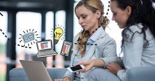 Digital sammansatt bild av affärskvinnor med teknologier och diagram stock illustrationer