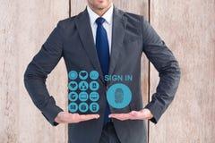 Digital sammansatt bild av affärsmannen som framlägger medicinska symboler Arkivbilder