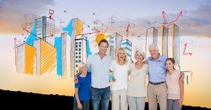 Digital sammansatt bild av den lyckliga familjen med byggnader mot himmel Royaltyfri Foto