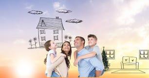 Digital sammansatt bild av den lyckliga familjen som föreställer det nya hemmet arkivfoton