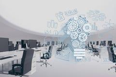 Digital sammansatt bild av det moderna kontoret med techdiagram Arkivbild