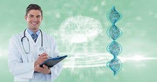 Digital sammansatt bild av doktorn med skrivplattan vid DNA och hjärnstrukturer Fotografering för Bildbyråer