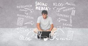 Digital sammansatt bild av mannen som använder bärbara datorn under olika texter och pilsymboler Fotografering för Bildbyråer