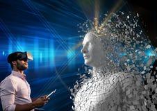 Digital sammansatt bild av mannen som använder den digitala minnestavlan och VR-exponeringsglas av människan 3d Royaltyfria Foton