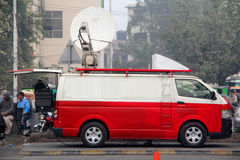 Digital Satellite News Gathering DSNG Van Royalty Free Stock Photos