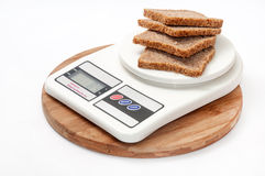DIGITAL SCALE CEREALS HEALTHY BREAD ISOLATED Stock Image