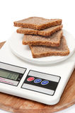 DIGITAL SCALE CEREALS HEALTHY BREAD ISOLATED Royalty Free Stock Images