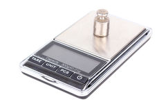 Digital scales with weight on it Stock Image