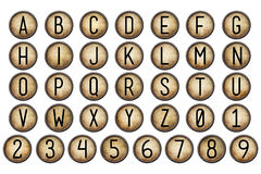 Digital Scrapbook Alphabet Typewriter Keys. This A to Z alphabet (plus numbers) is hand created digitally for your design purposes in an old fashioned typewriter Stock Images
