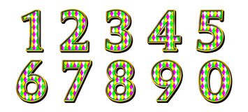 Digital Scrapbook Numbers Harlequin Mardi Gras Royalty Free Stock Photo
