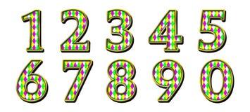 Digital Scrapbook Numbers Harlequin Mardi Gras Royalty Free Stock Photo