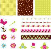 Digital scrapbooking. Floral digital scrapbooking. Papers and elements stock illustration