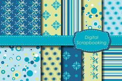 Digital scrapbooking paper set Royalty Free Stock Photography