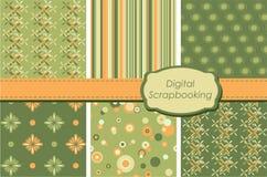 Digital scrapbooking paper set. Set of same color seamless patterns Stock Photo