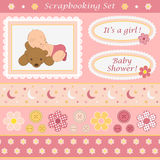 Digital scrapbooking set for baby girl. Stock Images