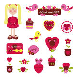 Digital scrapbookint. Valentine's Day Stock Images