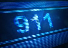 911 digital screen 3d illustration. With blue colour Stock Image