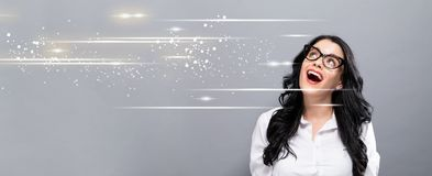 Digital Screen with happy young businesswoman Royalty Free Stock Images