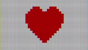 Pixel heart on digital old tv screen seamless loop glitch interference animation new dynamic holiday retro joyful. Digital screen seamless loop glitch stock footage
