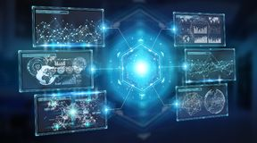Digital screens interface with holograms datas 3D rendering Royalty Free Stock Photos