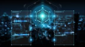 Digital screens interface with holograms datas 3D rendering. Digital screens interface with holograms datas on blue background 3D rendering Royalty Free Stock Photos