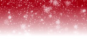 Digital seamless loop christmas red background with white bokeh and stars snow falling holiday stock video footage
