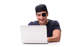 The digital security concept with pirate isolated on white Stock Photography