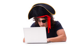 The digital security concept with pirate isolated on white Stock Photos