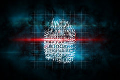 Digital security finger print scan. In blue and black Royalty Free Stock Photography
