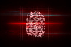 Digital security finger print scan. In red and black Stock Images