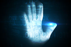 Digital security hand print scan Royalty Free Stock Photos