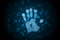 Digital security hand print scan Stock Photo