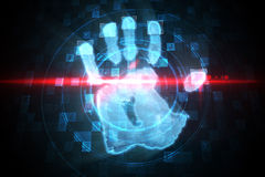 Digital security hand print scan Stock Photography