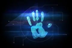 Digital security hand print scan Stock Photos