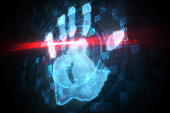 Digital security hand print scan Stock Images