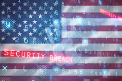 Digital security hand  scan against digitally generated american 3D national flag Stock Photo