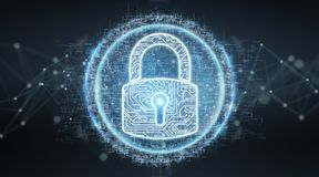 Digital security hologram with padlock 3D rendering. Digital security hologram with padlock on blue grey background 3D rendering Royalty Free Stock Photography