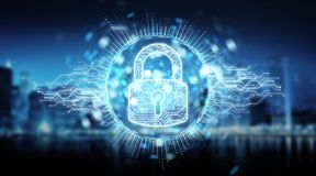 Digital security hologram with padlock 3D rendering. Digital security hologram with padlock on blue city background 3D rendering Royalty Free Stock Photos