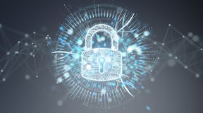 Digital security hologram with padlock 3D rendering. Digital security hologram with padlock on blue grey background 3D rendering Royalty Free Stock Photo