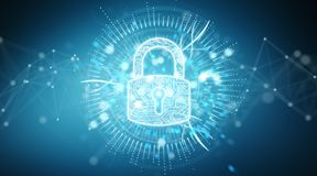 Digital security hologram with padlock 3D rendering. Digital security hologram with padlock on blue background 3D rendering Royalty Free Stock Photos