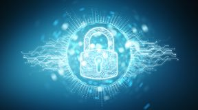 Digital security hologram with padlock 3D rendering. Digital security hologram with padlock on blue background 3D rendering Royalty Free Stock Images