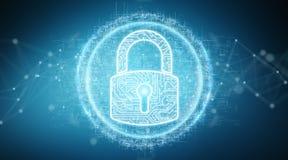 Digital security hologram with padlock 3D rendering. Digital security hologram with padlock on blue background 3D rendering Stock Images