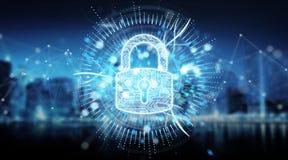 Digital security hologram with padlock 3D rendering. Digital security hologram with padlock on blue city background 3D rendering Vector Illustration