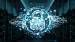 Digital security hologram with padlock 3D rendering. Digital security hologram with padlock on blue server background 3D rendering Stock Illustration