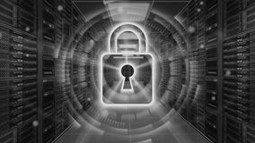 Digital security hologram with padlock on server room - Cyber security or network protection - 3D rendering. 