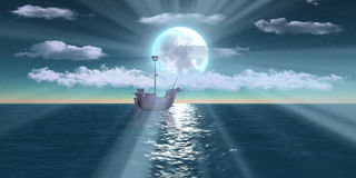 Digital ship sailing Through moon rays Royalty Free Stock Images