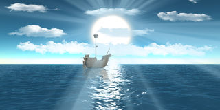 Digital ship sailing Through sun rays Stock Images
