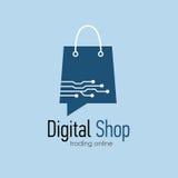Digital shop logo design template. Web banner Digital Shop with shopping bag. Vector illustation Royalty Free Stock Photos