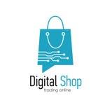 Digital shop logo design template. Web banner Digital Shop with shopping bag. Vector illustation Royalty Free Stock Images