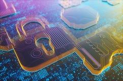 Digital-Sicherheits-Vorhängeschloß stockbild